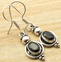 Natural Fancy BLACK ONYX ART Earrings ! Silver Plated Over Solid Copper