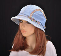 M196 Blue NWT Cute Stripes Jeans Cotton Brim Cap Bucket Summer Sun Hat Women's