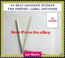 100 PCS A4 Size SELF ADHESIVE  STICKER SHEETS  SHIPPING Lable  LABELS SHEETS