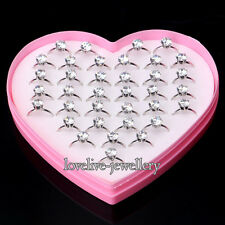 Wholesale 36pcs Adjustable Zircon Crystal Engagement Wedding Rings Women Gifts