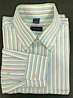 Jeff Rose Mens Long Sleeves Button Front Shirt Stripes Size Large Made In Italy