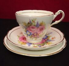 Pretty Regency Bone China Trio Tea Cup Saucer Tudor Rose, Pink Rose, Gilding