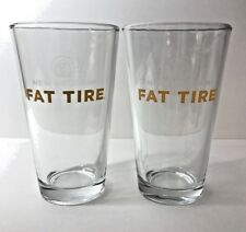 New Belgium Brewing Company - Fat Tire - 16 Ounce Pint Glass  TWO (2) Pack - NEW