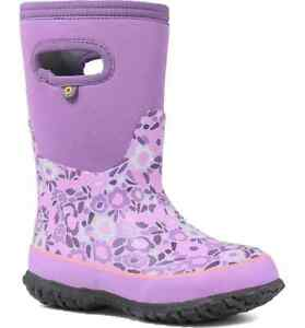 BOGS Kids Grasp Ditsy Flower Waterproof Insulated Boot Girls Size 5 Violet Multi