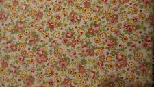 """Cotton Fabric SHADES OF SALMON,GREEN,YELLOW FLORAL ON PINK Heritage Studio 1/44"""""""