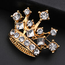 Jewellery Party Brooch Accessory Fm Crystal Rhinestone Crown Shape Costume