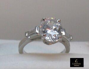 2.4 ct Diamond Three Stone Wedding Ring Sterling Silver