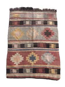 "Turkish Antique Kilim Rug, Oriental Wool Rug, Rustic Rug, 3'.9"" x 2'9"""
