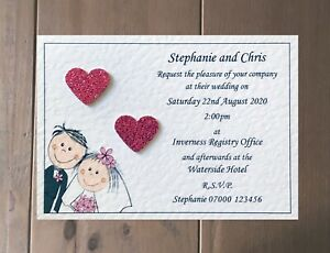10 Wedding Invitations Evening Invites Handmade and Personalised with Envelopes