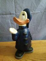 Donald Duck in Raincoat and Hat Walt Disney Prod 1980 Ceramic Figurine Vintage