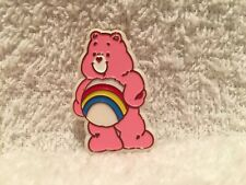 "HTF 1983 Plastic Care Bear Pin 1.5"" Vintage Rainbow Cheer Brooch AGC Eldon Pink"