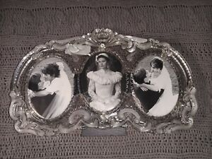 Mikasa Princess Ornate Cut Photo Picture Frame Triple Oval 3 Openings 3.5x4.5 FM