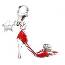 Silver Charm Tingle Rojo Tacón Alto, Nuevo, encantos pulsera, SCH127, joyería, En Caja