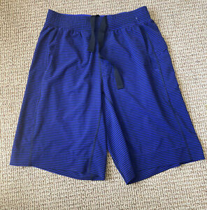 Lululemon The Core shorts sz Med dark blue purple/black stripe EUC lightweight