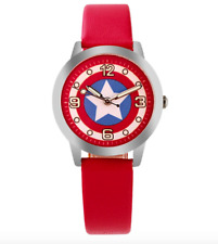 Marvel Captain America Red Wrist Watch Quartz Boys Kids Children Luminous