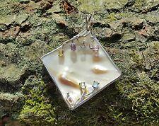 Irridescent White/Lustrous golden Blister Pearl/Gems Sterling Silver 925 Pendant