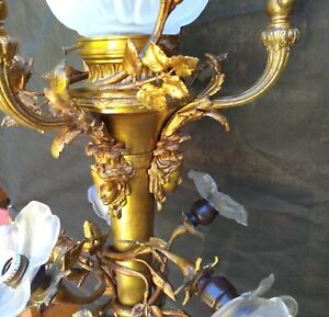 ANTIQUE SUPERB JANSEN MEDUSA FACES FLORAL LOUIS XVI FRENCH BRONZE CHANDELIER