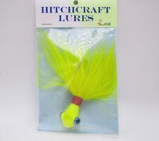 Hitchcraft Fishing Lure Chartreuse Bucktail Jig Blue Eyes 2 oz Saltwater Striper