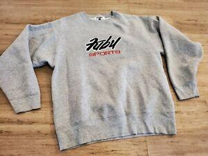 Vintage Fubu gray Classic Logo OG LOGO 90s Sweatshirt Mens Sz L MADE IN USA
