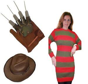 Womens Halloween Red And Green Freddy Krueger Fancy Dress  Jumper Hat Glove Set