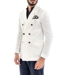 Giacca Uomo Colletto Lino Bianco Tinta Unita Pochette Elegante Casual GIOSAL
