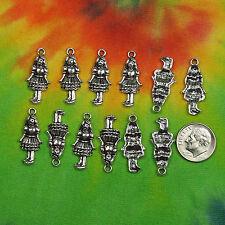 Bulk Lot 12 pcs Alice in Wonderland Girl in Dress Charms Pendants Looking Glass