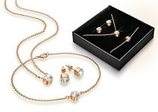 Swarovski crystal pendant, earrings and bracelet set - rose gold plating In Box