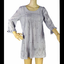 DANIEL RAINN Gray Tunic Top Eyelet Boho SMALL