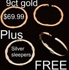 9ct 9K Gold Sleepers SOLID, FACETED, Hinged, Yellow & FREE Sterling Silver
