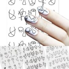 Lovely Water Transfer Nails Art Sticker Black Face Folwer Nail Wraps Sticker Hot
