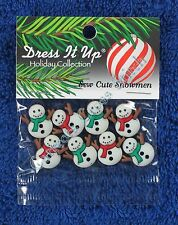 Dress It Up Sew Cute 8 Snowmen Christmas Novelty Buttons Embellishment Accent