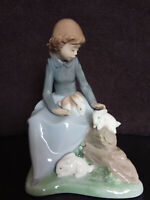 "NAO by Lladro ""Girl with Rabbits"" Porcelain Figurine - Excellent Condition"
