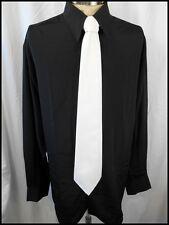 Vintage NOS 80s Black Polyester Phillips Melbourne Disco Dress Shirt L WITH TAG!