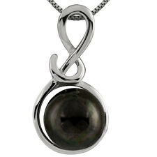Sterling Silver rhodium plated pendant/chain with 11mm Black mabe pearl.