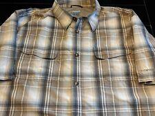 COLUMBIA PFG Men's TITANIUM Short Sleeve Shirt XL Beige Plaid Fishing Hiking