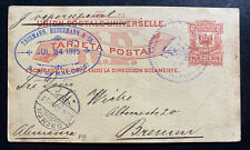 1895 Dominican Republic Stationery Postcard Cover To Bremen Germany