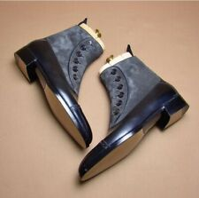 Handmade Leather Suede Cap Toe Boots, Men's Black & Gray Button Top Ankle Boots