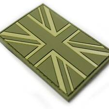 3D Rubber Union Jack Morale Military Army Tactical Airsoft Flag Patch Green NEW