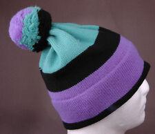 Vtg White Stag Winter Hat-100% Wool-Purple Turquoise Black-Toque-Benie-Pom Pom