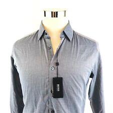 Hugo Boss Lucas Blue Micro Print Long Sleeve Button Front Shirt Mens Small NWT
