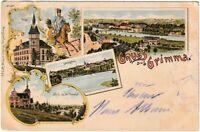 AK Grimma - Post/Gattersburg/Blick ins Muldental/Ortsansicht - Litho 1897