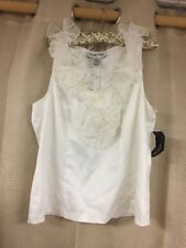 Womens Victor Costa 14 ivory Sleeveless Back Zip Top NWT