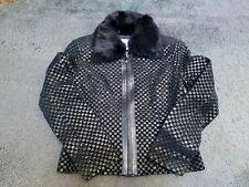 "Worthington Woven Leather & Suede Jacket ""Black"" (Size M)"