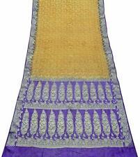 Damen Vintage Rein Seide Sari Gelb Blumen Design Gewebte Saree 5 Yard PSSI663