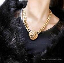 noble Charm Jewelry Pendant Lion Crystal Choker Chunky Statement bib Necklace