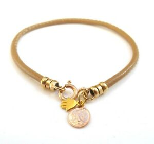 14k gold camel leather hamsa coin charms bracelet bangle men women kabbalah luck