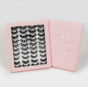 20 Pair 3D Mink Bushy Cross False Eyelashes Long Hair Eye Lashes Black Natural