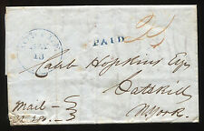 (1838) Mobile Ala to New York stampless cover blue markings paid 25