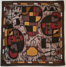 """VINTAGE AUTHENTIC JOAN MIRO STYLE ABSTRACT ART GRAY BLACK BROWN 35"""" SQUARE SCARF"""