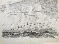 Karl Adser 1912-1995 Wildgänse über der Ostsee Anatidae Dänemark